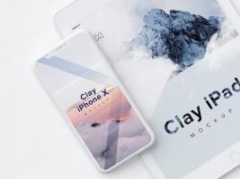 iPhone X和iPad的全新白模样机